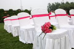 The Wedding bouquet. Wedding bouquet on a chair Stock Images