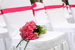 The Wedding bouquet. Wedding bouquet on a chair Royalty Free Stock Photography
