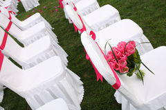 The Wedding bouquet. Wedding bouquet on a chair Royalty Free Stock Photo