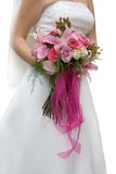 Wedding bouquet. And dress in white Stock Image