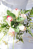 Wedding bouquet. Beautiful white wedding bouquet in hands of the bride Stock Photos
