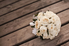 Wedding bouquet. With cream roses Stock Photo