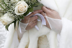 Wedding bouquet. In a hand of the bride Stock Photo