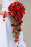 Wedding bouquet. Of red roses and leaves Stock Photo