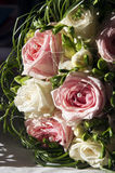Wedding bouquet. Close-up of a pink and white roses wedding bouquet Royalty Free Stock Photography