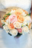 Wedding bouquet. In bride hands royalty free stock images