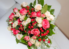 Wedding bouquet. Of roses on a light background Stock Photos