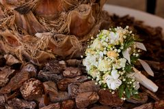 Wedding bouquet. Consists of different flowers lying on the wood Royalty Free Stock Photo