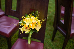 Wedding bouquet. On the chair Royalty Free Stock Photo