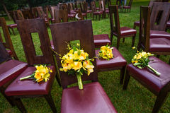 Wedding bouquet. On the chair Stock Image