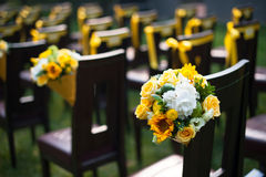 Wedding bouquet. On the chair Royalty Free Stock Image