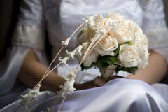 Wedding bouquet. In bride hands Royalty Free Stock Photography