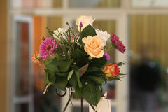 Wedding Bouquet. In a banquet hall Stock Photography