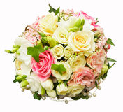 Wedding bouquet. Beautiful wedding bouquet, from roses stock photography