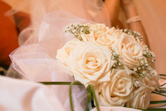 Wedding bouquet. And bride on background Royalty Free Stock Photography