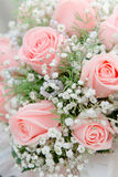 Wedding bouquet. From pink roses close up royalty free stock photo