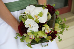 Wedding bouquet. Bouquet of white flowers with green garnish being held by a woman in a dress Royalty Free Stock Images