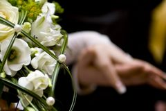 Wedding bouquet. With couple on background Stock Image