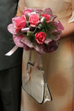 Wedding bouquet. Flowers with purse royalty free stock photo