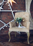 Wedding bouquet on the armchair Royalty Free Stock Image