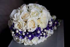 Wedding bouquet of artificial flowers royalty free stock photo