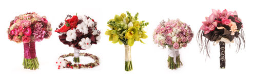 Wedding bouquet with Astrantia, Skimma, Brassica, rose bush, Ran Royalty Free Stock Photo