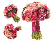 Wedding bouquet with Astrantia, Skimma, Brassica, rose bush, Ran Stock Photo