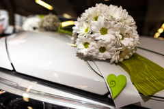 Wedding Bouquet on Car Stock Photography