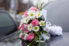 Wedding bouquet, background a church stock photo
