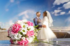 Bride and groom. Wedding bouquet on a background of newlyweds Stock Photo