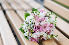 Wedding bouquet on banch. White and pink flowers Royalty Free Stock Photography