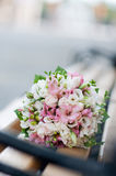Wedding bouquet on banch. White and pink flowers. Marriage. Wedding bouquet on banch. White and pink flowers.. Event accesory Royalty Free Stock Photo