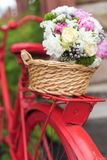 Wedding bouquet into basket Stock Image