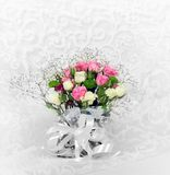 Wedding bouquet of beautiful flowers roses. For design postcards and wedding invitation royalty free stock photo