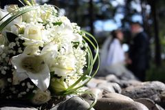 Wedding bouquet. Beautiful Wedding bouquet from white lilies stock image