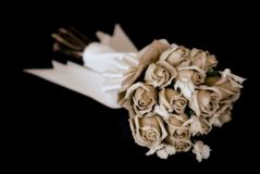 Wedding bouquet on black Stock Photography