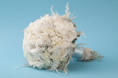Wedding bouquet on a blue background Royalty Free Stock Photo