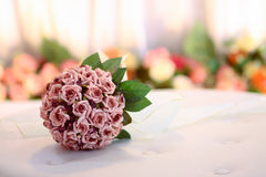 Wedding bouquet with blur background. Wedding bouquet isolated in a blur flower background Stock Photography