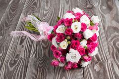 Wedding bouquet on the boards Royalty Free Stock Photos