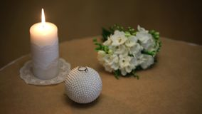 Wedding bouquet boutonniere candles RING.  stock video footage