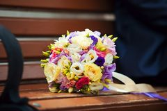 Wedding bouquet. Bridal bouquet on a bench Stock Photos