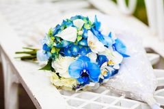 Wedding Bouquet. Bridal bouquet of white and blue orchid Royalty Free Stock Images