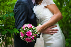 Wedding bouquet of the bride. Wedding bouquet of two enamoured royalty free stock image