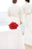 Wedding bouquet of the bride. In table stock image