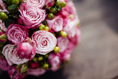 Wedding bouquet of bride - colorful flowers. Stock Photography