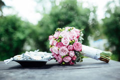 Wedding bouquet of bride - colorful flowers. Stock Images
