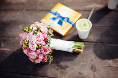 Wedding bouquet of bride - colorful flowers. Stock Photos