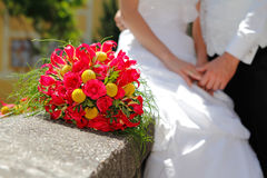 Wedding bouquet with Bride and Groom Stock Photos