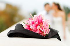 Wedding bouquet with Bride and Groom Stock Photo