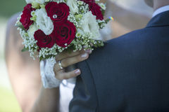 Wedding bouquet in bride hands closeup Royalty Free Stock Images